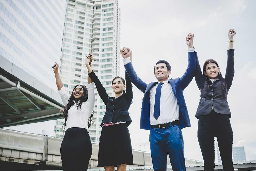 Grupo de colaboradores motivados